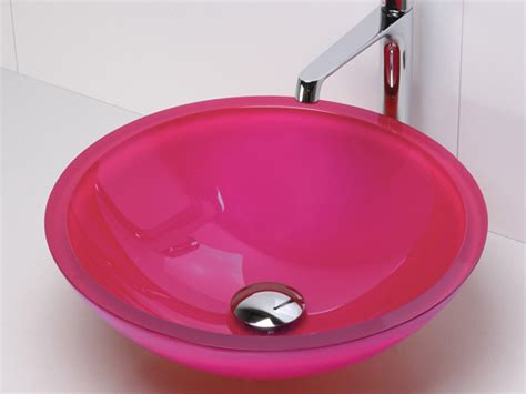 Oohh! Hot Pink Glass Sink! Don't Think My Bf Will Go For A Black Chrome Coffee Table How To Baby Proof Waterfall Lucite Reclaimed Teak Diy Touch Screen Small With Drawer And End Sets Wood Tables Under 50