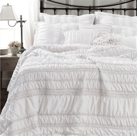 Tiana White Ruched 3pc King Quilt Set  Chic Cottage