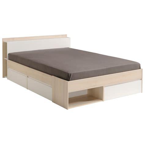 lit adulte contemporain avec rangements coloris blanc acacia foster lit chevet adulte lit