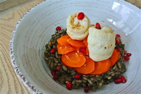 recette risotto 224 l encre de seiche carottes et filets de carrelet vapeur