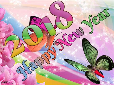 Poetry And Worldwide Wishes Happy New Year Image 2018 With Butterfly And Cute Background