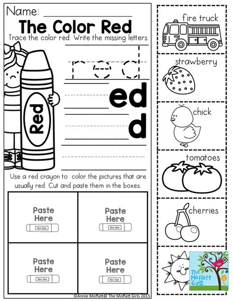 Color Red Worksheets Printable  Coloring Page