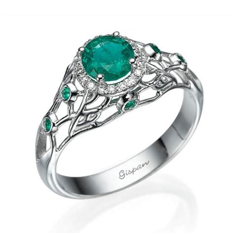 emerald engagement ring 14k white gold filigree design emerald ring wedding ring deco