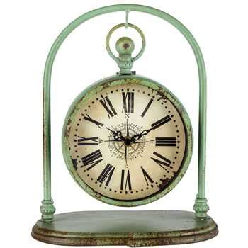 rustic green hanging metal clock on arch hobby lobby