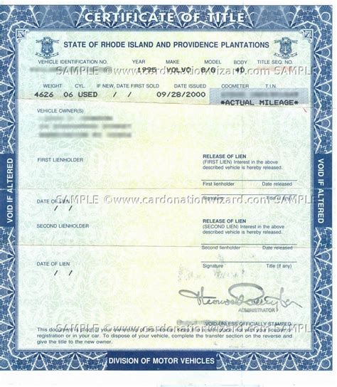 Texas Boat Registration Without Title by Rhode Island Title Transfer Donate A Car In Ri On Car