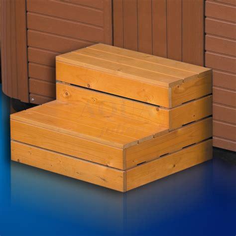 escalier 2 marches pour spa en bois aquajulien
