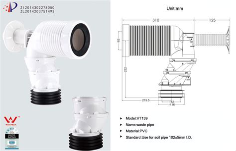products toilet waste pipe w c pan connector manufacturer in china by verto xiamen