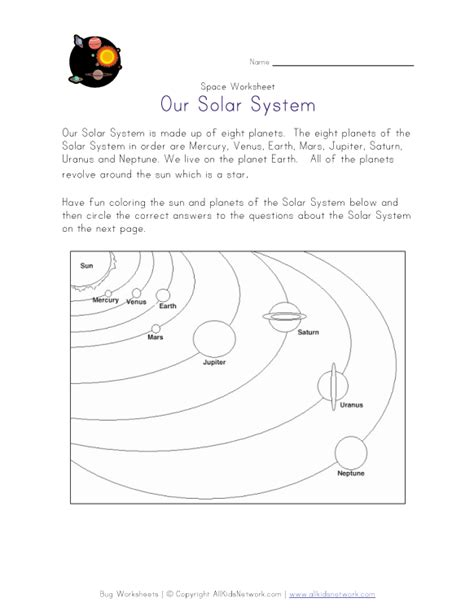 Space Worksheets For Kindergarten  Astronomy And Space K 3 Theme Page At Enchantedlearning