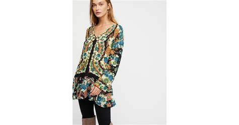 Free People Lovely Dreams Print Tunic In Black