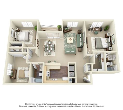Three Bedroom Apartments Floor Plans 61585 Texasismyhomeus