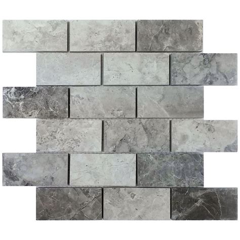 shop avenzo 12 in x 12 in valensa gray polished mosaic floor tile at lowe s canada find our