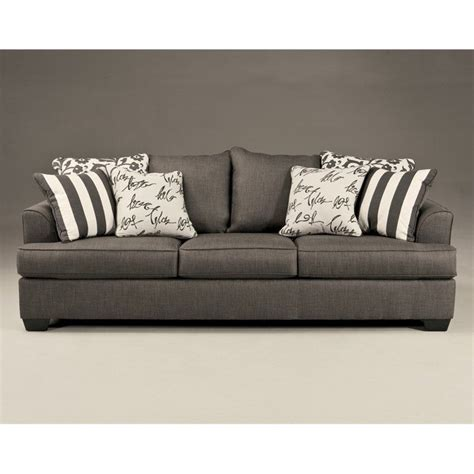 signature design by furniture levon microfiber sofa in charcoal 7340338
