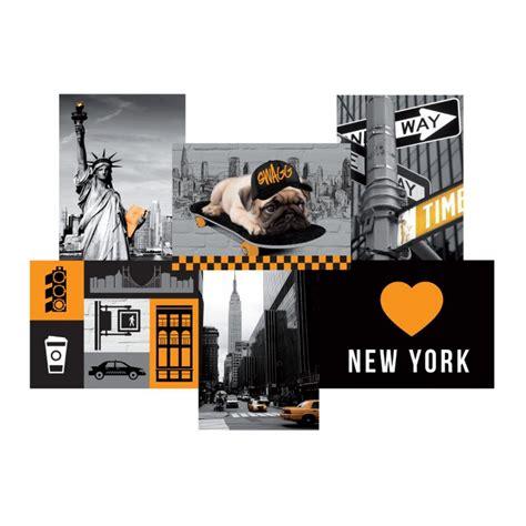 toile imprim 233 e city quot new york quot 49x35cm jaune