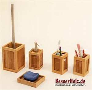 Bad Set Holz : tolles bad accessoires set aus bambus holz mit b rste ebay ~ Markanthonyermac.com Haus und Dekorationen