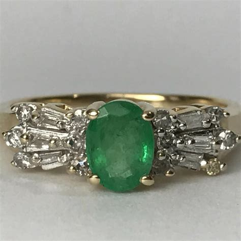vintage emerald engagement ring deco accents 10k solid yellow gold estate jewelry
