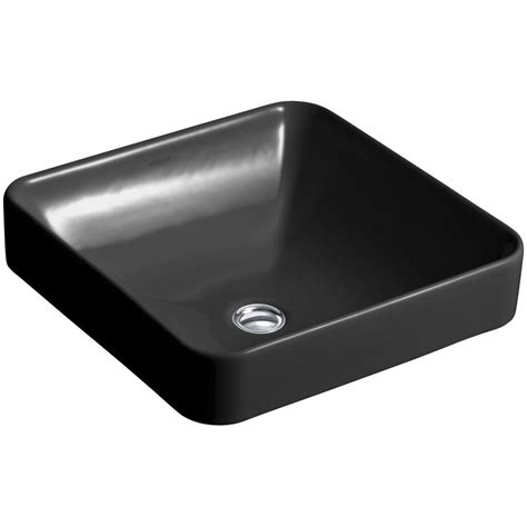 kohler vox square vitreous china vessel sink in black black with overflow drain k 2661 7 the