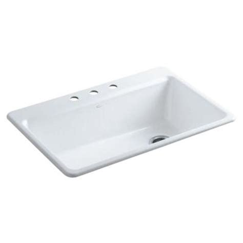 kohler riverby top mount cast iron 33 in 3 single bowl kitchen sink in white