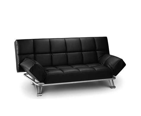 manhattan 110cm black faux leather clic clac sofa bed