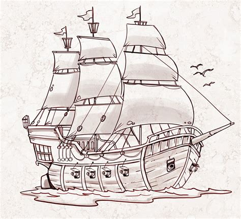 How To Draw A Old Boat by Pirate Ship A Sketch For A How To Draw Book Tutorial