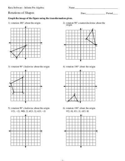 Printable Math Transformation Worksheets  Kuta Software Rotations Worksheet Answers