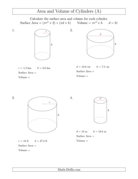 Calculating Surface Area And Volume Of Cylinders (a