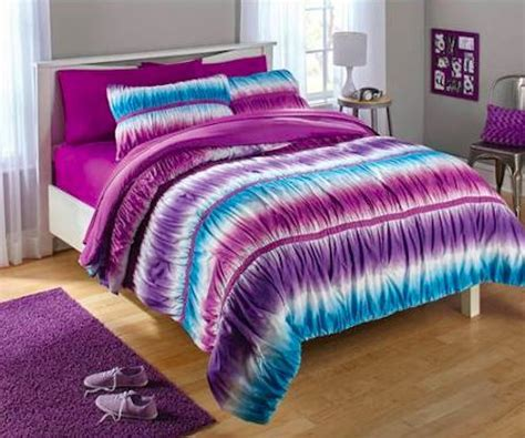 2pc reversible purple and blue tie dye ombre ruched comforter set 2pc bed in a