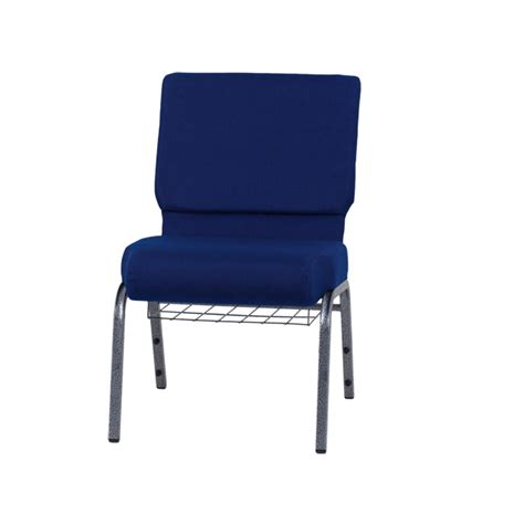 hercules series 21 w church chair in navy blue fabric with cup book rack silver vein frame