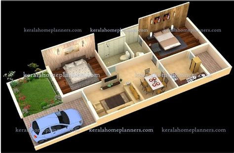 2 Bhk Home Design In India : 3 Simple 02 Bedroom Homes Ground Floor Plans- 3d View