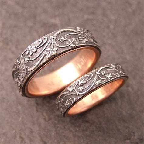 deco wedding band set in sterling silver lined in 14k gold by chuck domitrovich of