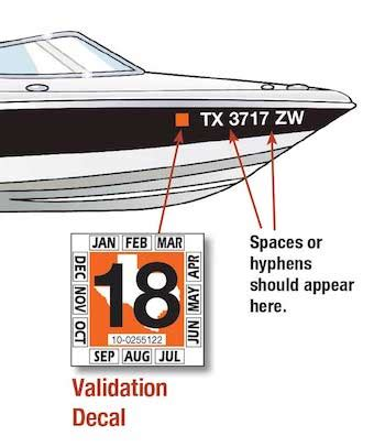 Texas Boat Lettering Requirements by Displaying The Registration Number And Validation Decals