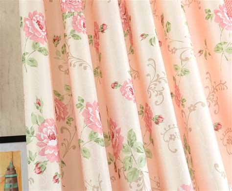 Romantic Pink Floral Poly/cotton Shabby Chic Curtains