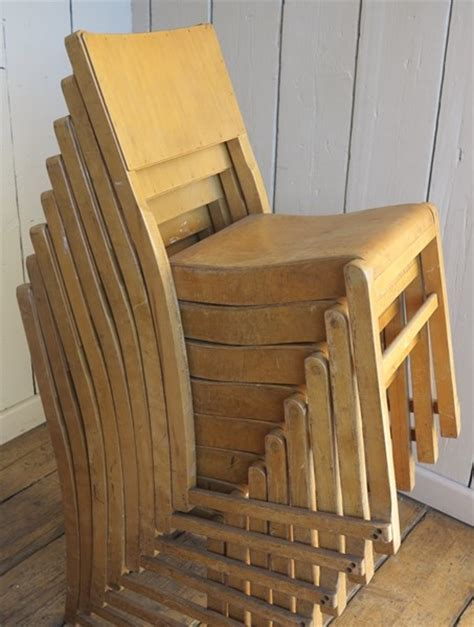 vintage reclaimed wooden stacking church chairs