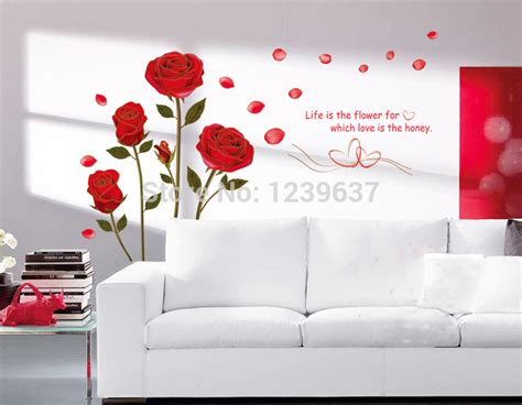 Romantic Red Rose Flowers Wall Decals, Living Room Bedroom