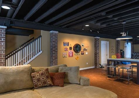 basement ceiling ideas exposed ducts painted home improvements basements
