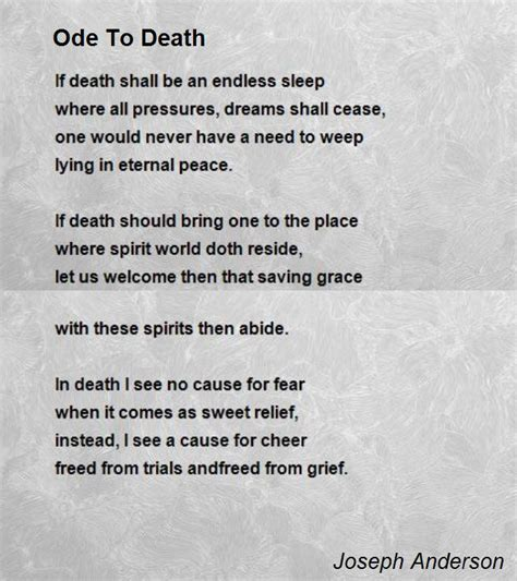 Sleep Joseph And Maia Lyrics by Ode To Death Poem By Joseph Anderson Poem Hunter